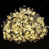 Beleuchtung - LE LED Blumen Solar Lichterkette 5 Meter 50er, Warmweiß, Wasserdicht, Außenlichterkette, Weihnachtsbeleuchtung, Solar Blüten Leuchtkette für Garten, Hochzeit, Party usw.
