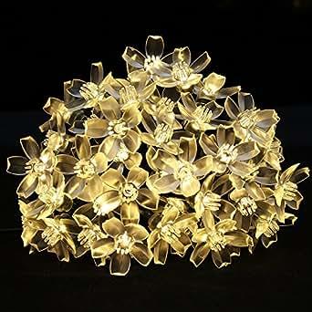 LE 5M 50 LEDs Catene luminose a LED, Pannello Solare 1.2V Bianco Caldo
