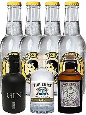 Gin Probierset 1 x Monkey 5 cl, 1 x The Duke 5 cl, 1 x Black Gin 5 cl + 4 x Thomas Henry Tonic Water 0,2 Liter