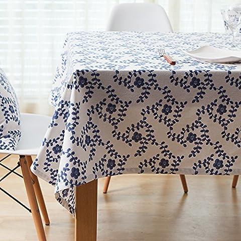 MEICHEN-Azul y blanco, de origen étnico chino viento mantel manteles de tela de algodón mantel mantel mantel,fondo cojín silla 40*40*2