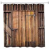 Perfectii Duschvorhang Badewannenvorhang, Schimmelresistenter und Wasserabweisend Retro Holztür 3D Gedruckt Badvorhang Badezimmer Duschvorhang 150x180cm mit 12 Ringe
