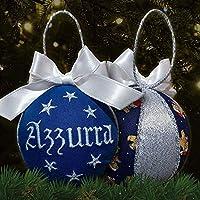Crociedelizie, pallina di Natale personalizzata 8 cm nome ricamato decorazione natalizia personalizzabile blu e lurex argento idea regalo