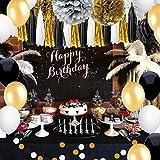 Geburtstag Party Dekoration, Girlande mit Seidenpapier Pompoms und Luftballons für Mädchen und Jungen Jeden Alters - Schwarz, Gold und Silber - 4