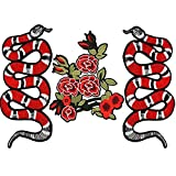 #6: Generic Embroidery Rose Flower Snake Patches for Clothing Iron Sewing-Flower Snake