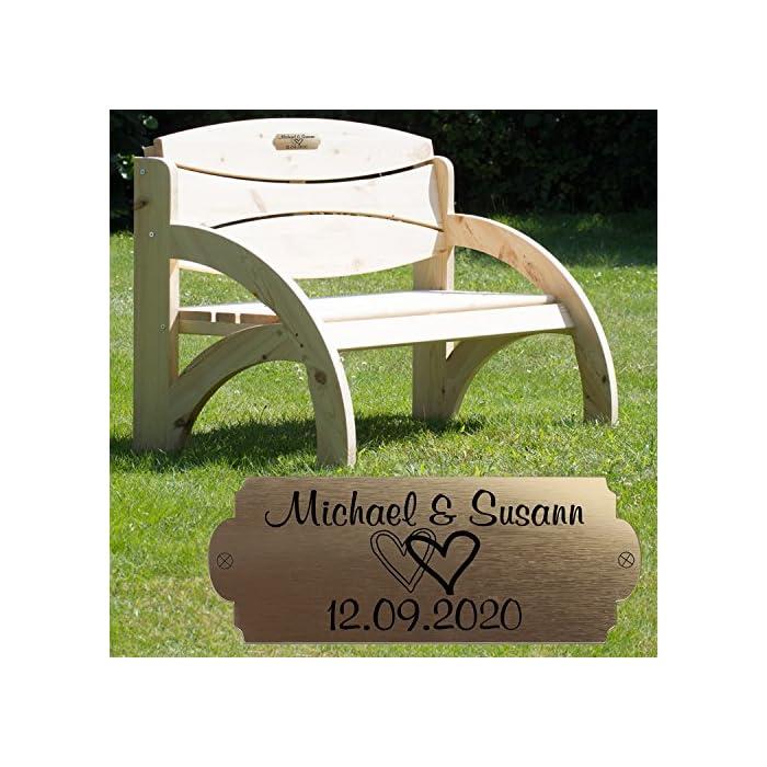 Hochzeitsbank mit Gravur (Natur, Herzen), Hochzeit, zum Hochzeitstag oder Jahrestag - Hochwertige Holz Gartenbank mit…