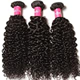 Longqibeauty® 3 Bundles Pack JERRY CURLY Brazilian Virgin Hair Weave Extensions Curls Hair Weft 100% Human Hair Natural Black Colour (20inch 22inch 24inch)