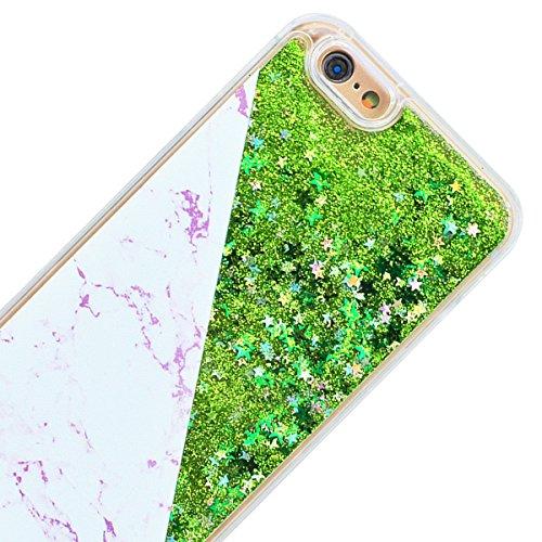 GrandEver iPhone 6S Plus Hülle iPhone 6 Plus Hartschale Glitzer Handyhülle Schutz Hardcase Marmor und Flüssig Fließende Sparkly Liebe Muster Rückschale Treibsand Schutzhülle Bmper Klar Dünne Ultra Sli Grün