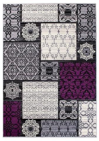"""Petit Tapis De Salon - Gris Violet - Parfait Pour La Chambre - Design Moderne - Motif Ornement - Plusieurs Coloris & Tailles """" IVY """" 80 x 150 cm"""