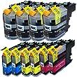 10 XXL Druckerpatronen / Druckertinte kompatibel zu Brother LC-121 LC-123 LC123 LC-127 LC-125 mit Füllstandsanzeige & Chip