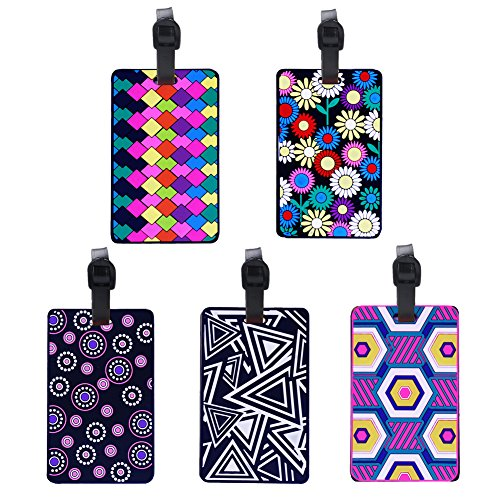 Paxcoo Viaje Equipaje Etiqueta de PVC Multicolor de 5 piezas