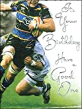 Male Birthday / Greeting Card (JJ1658) Rugby - Silver Embossed