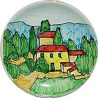 Paesaggio Toscano-Piatto di ceramica smaltato e decorato a mano, diametro cm 12 alto cm2,2-MADE in ITALY Toscana Lucca, certificato.