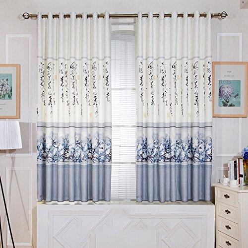 Jasmine Living cortinas dormitorio cortinas cortina tela simple piso americano moderno estilo mediterráneo nórdico corto perforado-T 150*200cm(59x79inch)