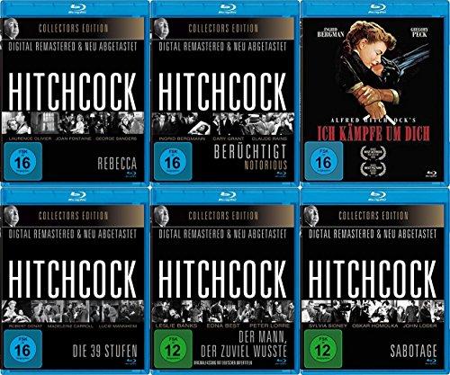Alfred Hitchcock - frühe Klassiker 6 Blu-Ray Collection - Der Mann, der zuviel wusste + Rebecca + Ich kämpfe um Dich + Die 39 Stufen + Sabotage + Berüchtigt (Rebecca Vorhänge)