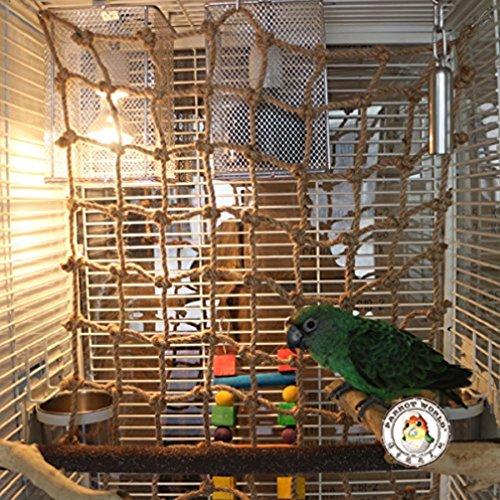 LA VIE Grande Rete di Arrampicata della Corda in Naturale Canapa con Gancio per Pappagallo Swing Durevole Amaca Scaletta Pappagalli Uccello Toys Cage Giochi per Pet Uccello Piccoli Animali L