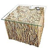 Exklusiver Treibholz Couchtisch FOSSIL Teak Elemente in Handarbeit gefertigt mit Glasplatte Tisch Holztisch