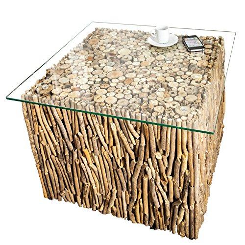 Treibholz-Couchtisch mit Glasplatte