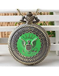 Fashion UNITED STATES NAVY Design Antique Retro Bronze Pocket Watch Fob Watches With Necklace Chain For Unisex...