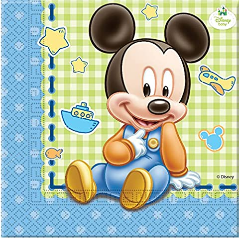 Disney Baby Mickey Mouse Paper Napkins, Pack of 20