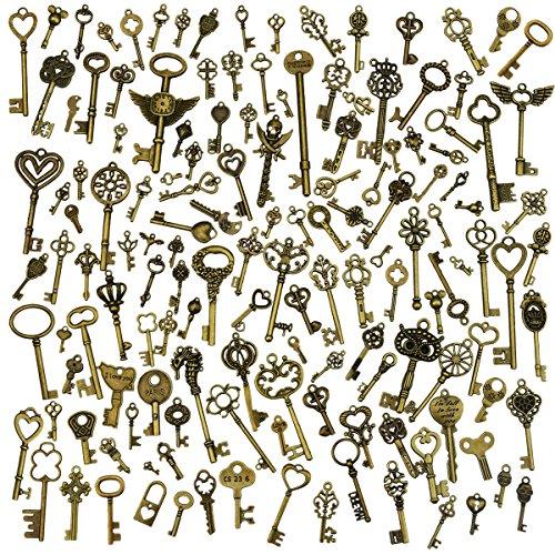 130 Stücke antike bronze vintage skeleton Schlüssel DIY Halskette Anhänger Schmuck Machen Lieferungen für Hochzeit Dekoration Favor Oder Parteien