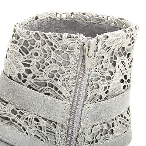 PRENDIMI by Scarpe&Scarpe - Flache Stiefeletten mit Schnalle und Makramee-Stoff, mit Absätzen 3 cm GRIGIO PERLA