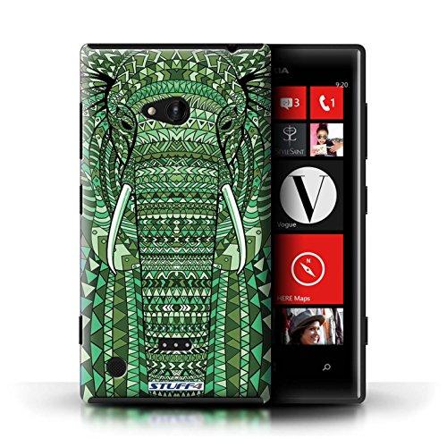 Kobalt® Imprimé Etui / Coque pour Nokia Lumia 720 / Hibou-Mono conception / Série Motif Animaux Aztec éléphant-Vert