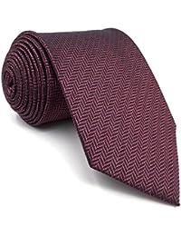 shlax&wing Color Sólido Burgundy Morado Ties For Men Seda Necktie Set Traje de negocios Boda