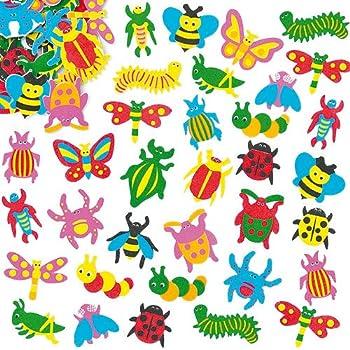 Baker Ross Lot de 100 Autocollants Insectes en Mousse - Idéal pour les amateurs d'insectes et de bêtes rampantes