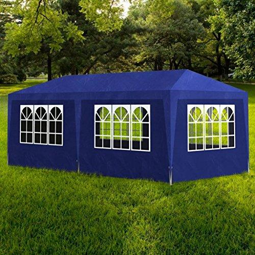 Zora Walter Bleu Tente de réception avec 8 Murs Tonnelle Abri de Jardin 6 x 3 x 2,5 m