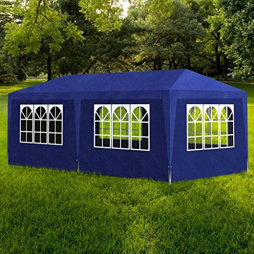 WEILANDEAL Weilandal Gartenpavillon, Zelt für Empfangszelt blau 3 x 6 m Rahmen: Stahlrohr, Pavillon, Gartenzelt