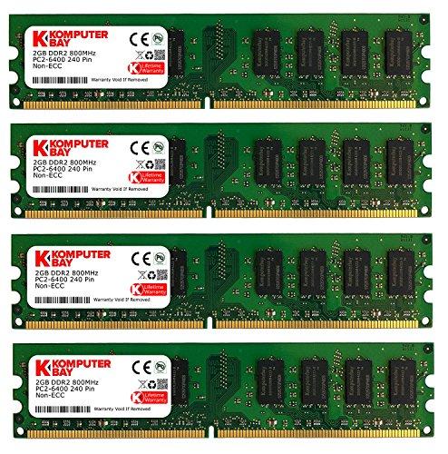 Komputerbay DIMM Speichermodule (8 GBà 4x 2GB, 240 Pin, 800MHz, PC2 6400/6300 DDR2) (Modul Ecc 800 Mhz)