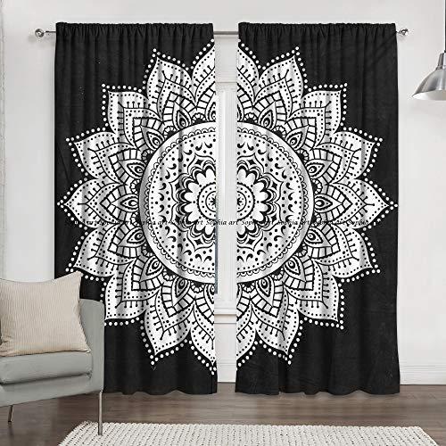 Sophia-Art - Cortinas Indias Color Blanco Negro diseño