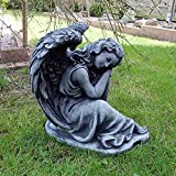 Steinfigur Engel Angel Gartenfigur Grabengel Skulptur Grabschmuck Frostfrei massiver Steinguss