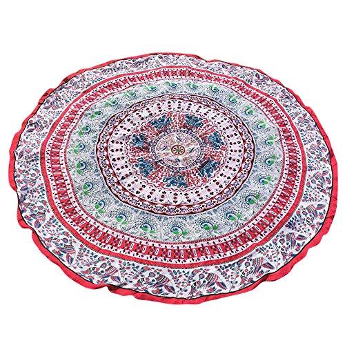 YEARNLY Indien Strandtuch Rund Mandala Hippie/Groß Indisch Rundes Chiffon/Boho Runder Yoga Matte Tuch Meditation/Tischdecke Rund aufhänger Decke Picknick handgefertigt Teppich 150 * 150cm -