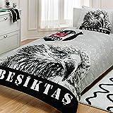 Fanartikel Beşiktaş Şanlı Kartal Jugendbettwäsche Einzelbett Bettwäsche Bettdeckenbezug(160x220cm), Bettwäsche 100% Baumwolle mit Bettbezug, Spannbettlacke(100x200cm) und Kissenbezug(50x70cm)Made in der Türkei