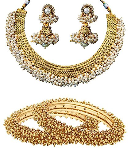 Jewels Galaxy Bridal Collection With Royal Necklace Set, Pair Of Traditional Bangles - Combo of 2