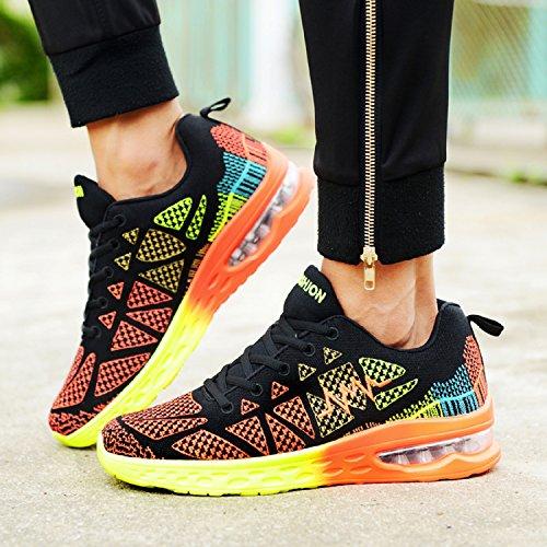T-Gold Sportschuhe Herren Damen Laufschuhe Atmungsaktiv Turnschuhe Bequem Low Top Outdoor Fitnessschuhe Sneaker Frühling Sommer Schwarz-Orange