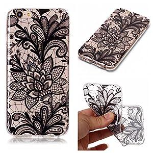 Capa para iPhone 6 e 6S com mandala de flores pretas