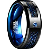 NUNCAD Celtic Dragon Ring for Men Blue Carbon Fiber Inlaid Black Tungsten Carbide Wedding Band Engagement Ring 8mm Size…