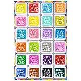 Elera 24 Couleurs lavable Artisanat Encreurs pour Caoutchouc Stamps carte de Fabrication