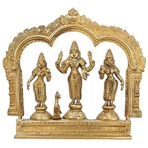 Lord Vishnu Goddess Laxmi Saraswati Brass Statue For Puja Mandir 8.75 inch,2.2 Kg