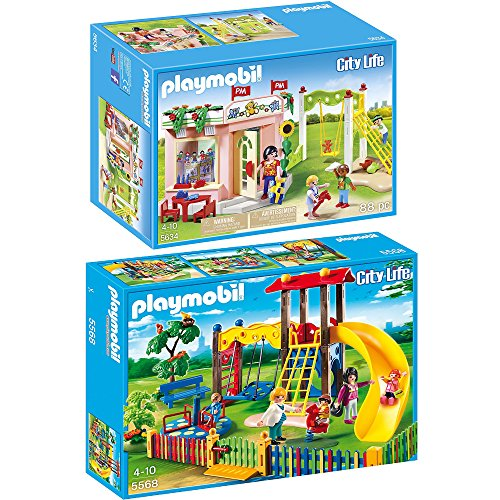 Preisvergleich Produktbild PLAYMOBIL® City Life 2er Set 5568 5634 Kinderspielplatz + Kindergarten
