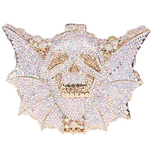 Bonjanvye Shining Skull Shape Clutch Purses and Handbags for Hollaween Party AB Silver AB Gold