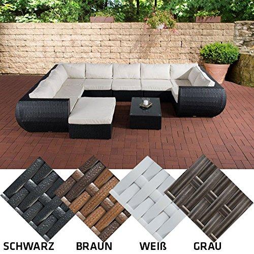 CLP Poly-Rattan Gartengarnitur GIBRALTAR, Aluminiumgestell (2er Sofa + Ecksofa + Mittelsofa + Fußhocker + Tisch 82 x 57cm + 10 cm dicke Polster + Kissen) Grau