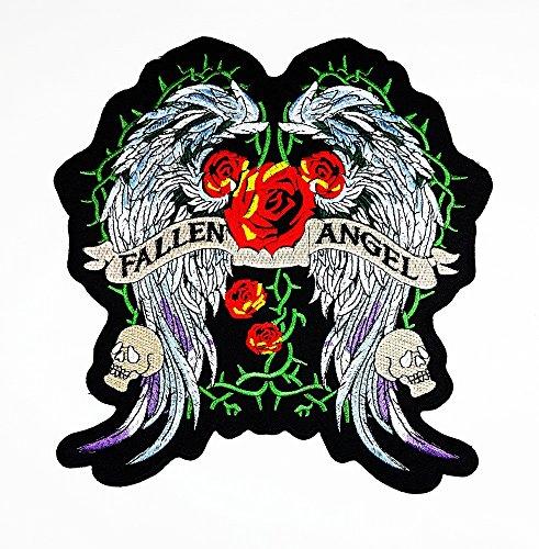 rabana XXL Fallen Engel Flügel Rot Rose Lady Rider Biker Logo Rückseite Motorräder Patch Sew Iron on gesticktes Badge Schild Kostüm