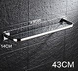 YAOHAOHAO Bad Regale aus Edelstahl 304 Racks, Badezimmer Einlegeböden aus Glas, an der Wand angebrachte Bad Kosmetik Rack, Badezimmer Hardware Zubehör (Größe: 43 cm)