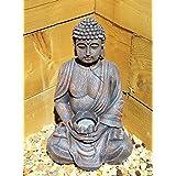 Gran 39cm energía SOLAR Estatua de Buda efecto piedra para jardín al aire libre interior adorno