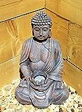 Grande statue de Bouddha 39cm Énergie solaire Effet pierre Pour jardin extérieur intérieur