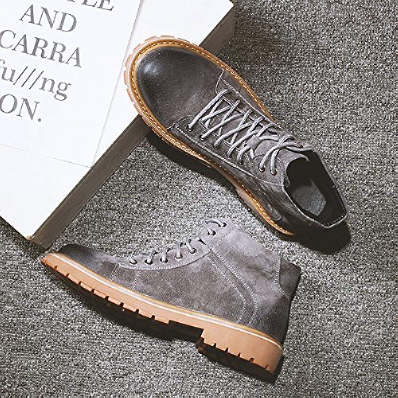 HL-PYL-Martin Botas de hombres altos zapatos botas botas robot con zapatos de algodón bajo,39,gris