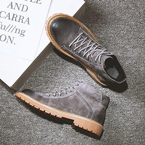 HL-PYL-Martin uomini stivali scarpe alte Tooling Stivali Stivali con bassa scarpe di cotone gray